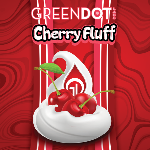 illustration of a marshmallow fluff dollop with cherries and a GDL brand drop